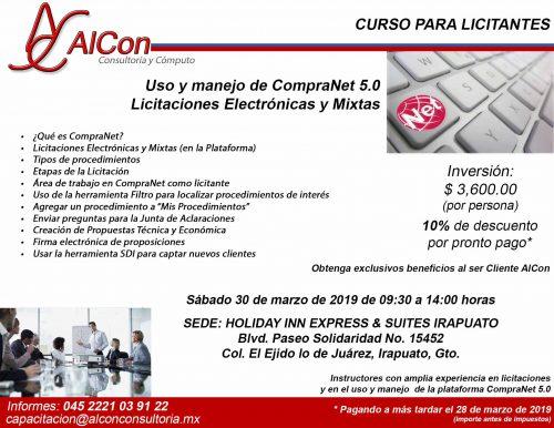Curso CompraNet 5.0 Irapuato, Guanajuato AlCon Consultoría y Cómputo Arcadio Alonso Sánchez