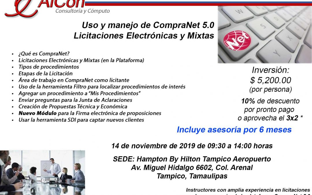 Curso de CompraNet 5.0 Tampico, Tamaulipas