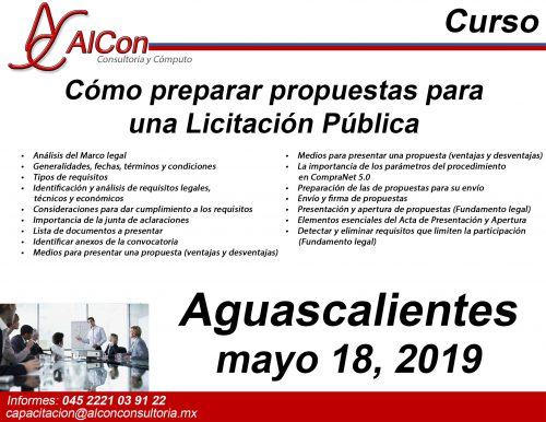 Curso preparar propuestas para una Licitación Pública Aguascalientes AlCon Consultoría y Cómputo Arcadio Alonso Sánchez