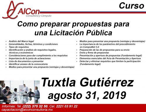 Curso Como preparar propuestas para una Licitación Pública, Tuxtla Gutiérrez, Chiapas, AlCon Consultoría y Cómputo / AlCon Consulting And Commerce, Arcadio Alonso Sánchez, AlCon C&C