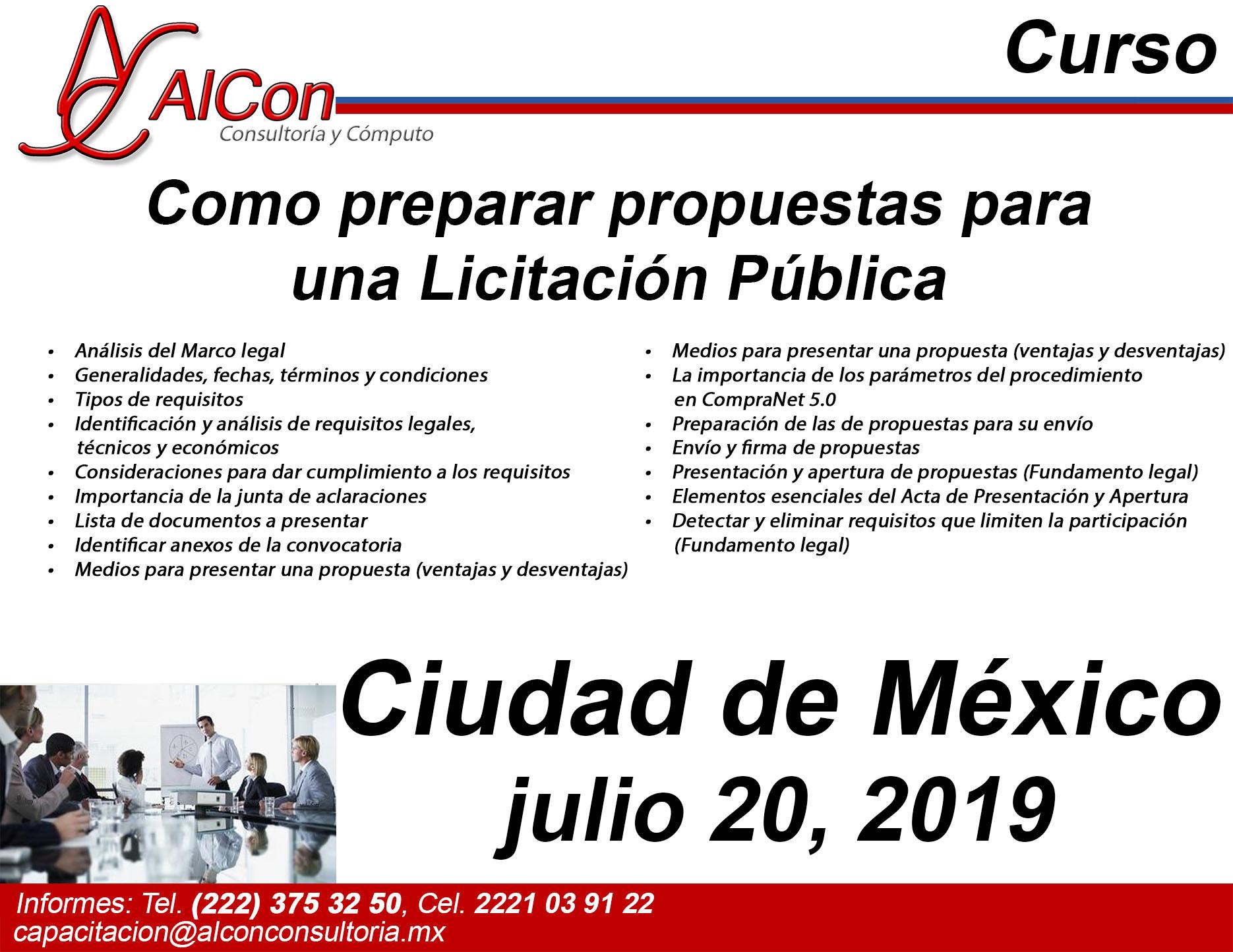 Curso Preparar Propuestas, Ciudad de México (CDMX), AlCon Consultoría y Cómputo, AlCon Consulting And Commerce Arcadio Alonso Sánchez, AlCon C&C