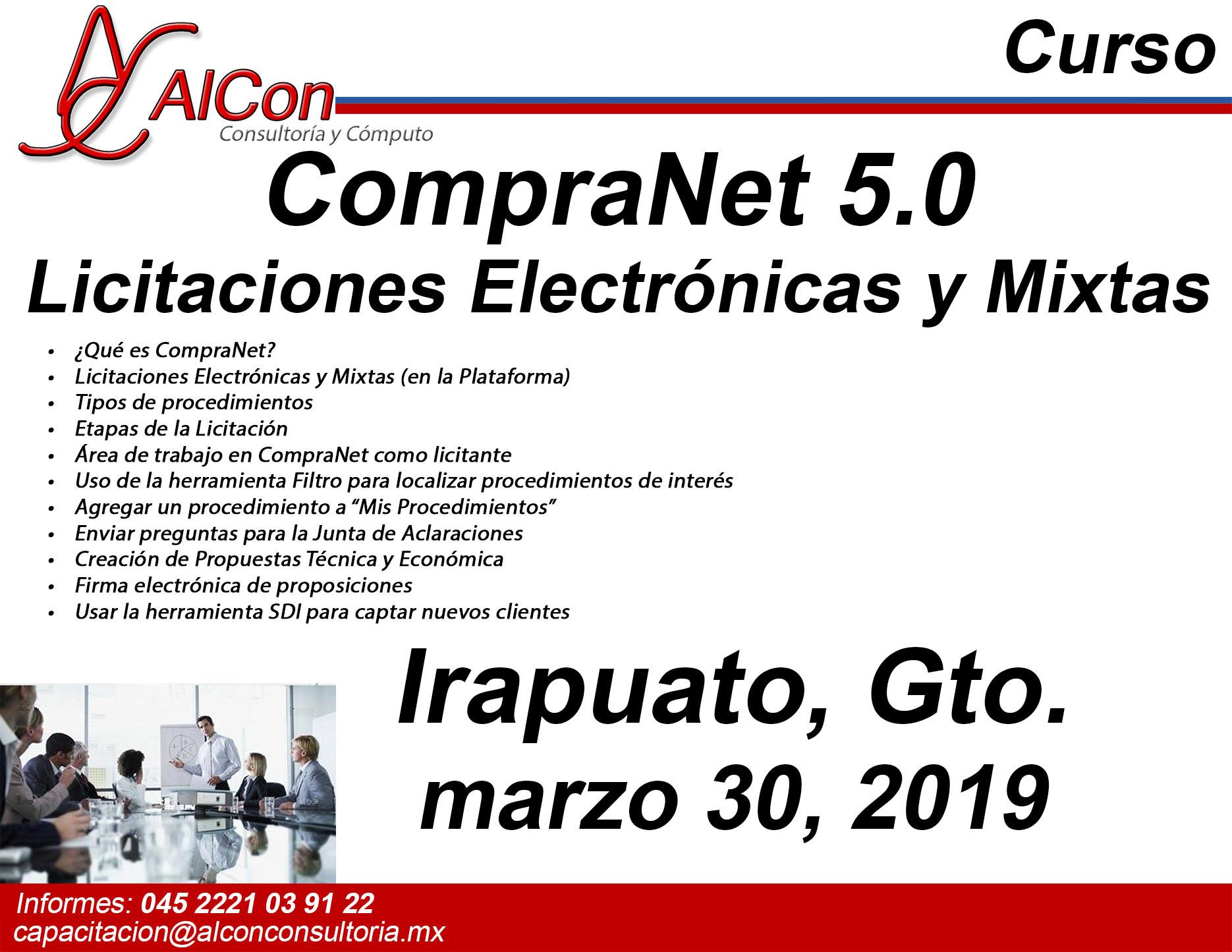 Curso CompraNet 5.0 Irapuato, Guanajuato