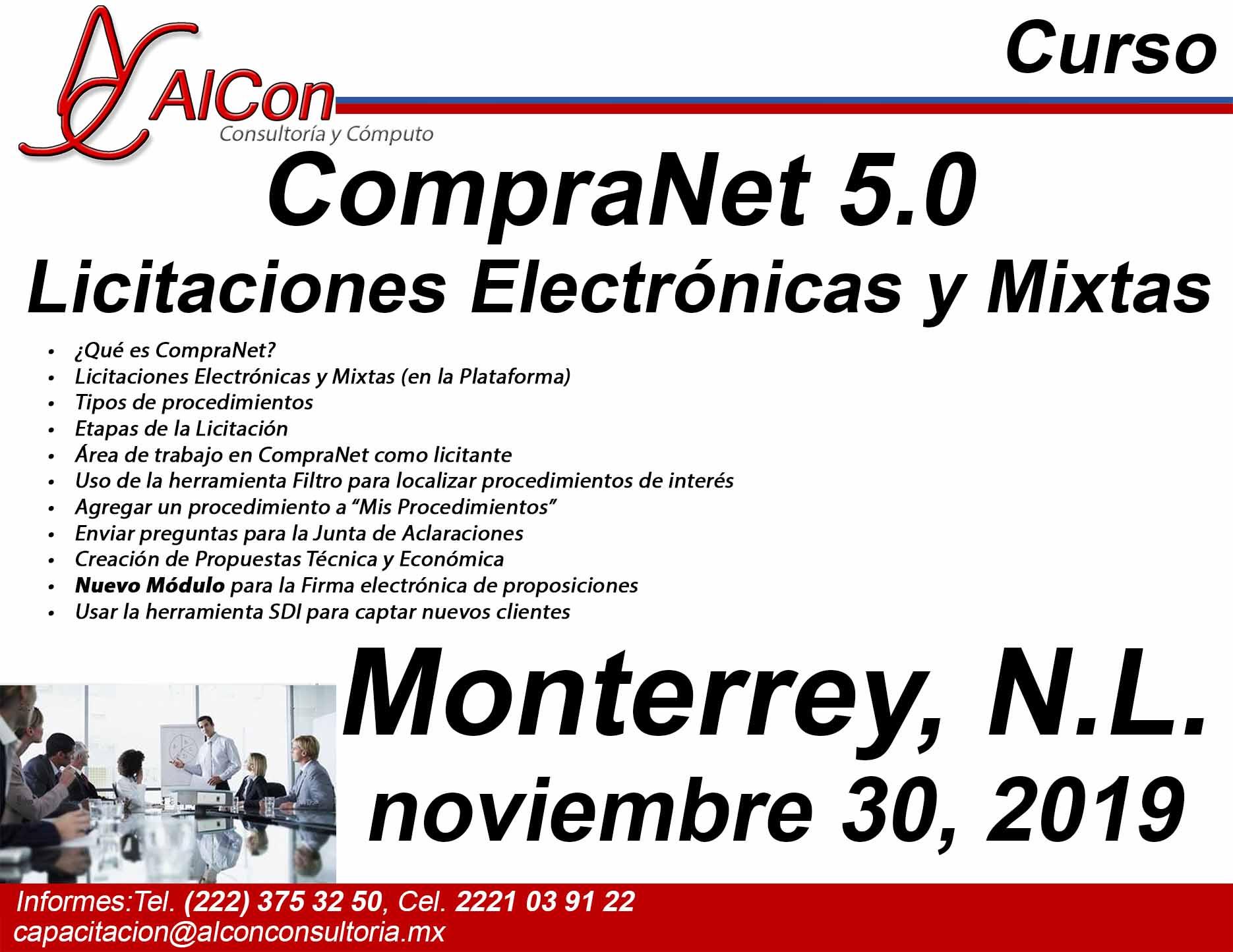 Curso de CompraNet 5.0, Monterrey, Nuevo León, AlCon Consultoría y Cómputo, AlCon Consulting And Commerce