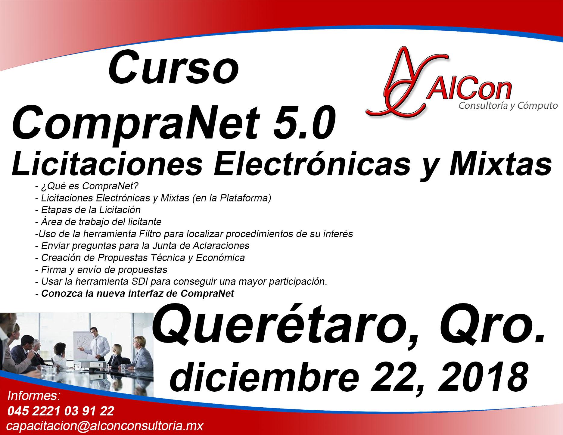 Curso CompraNet 5.0 para licitantes, Querétaro, Qro.