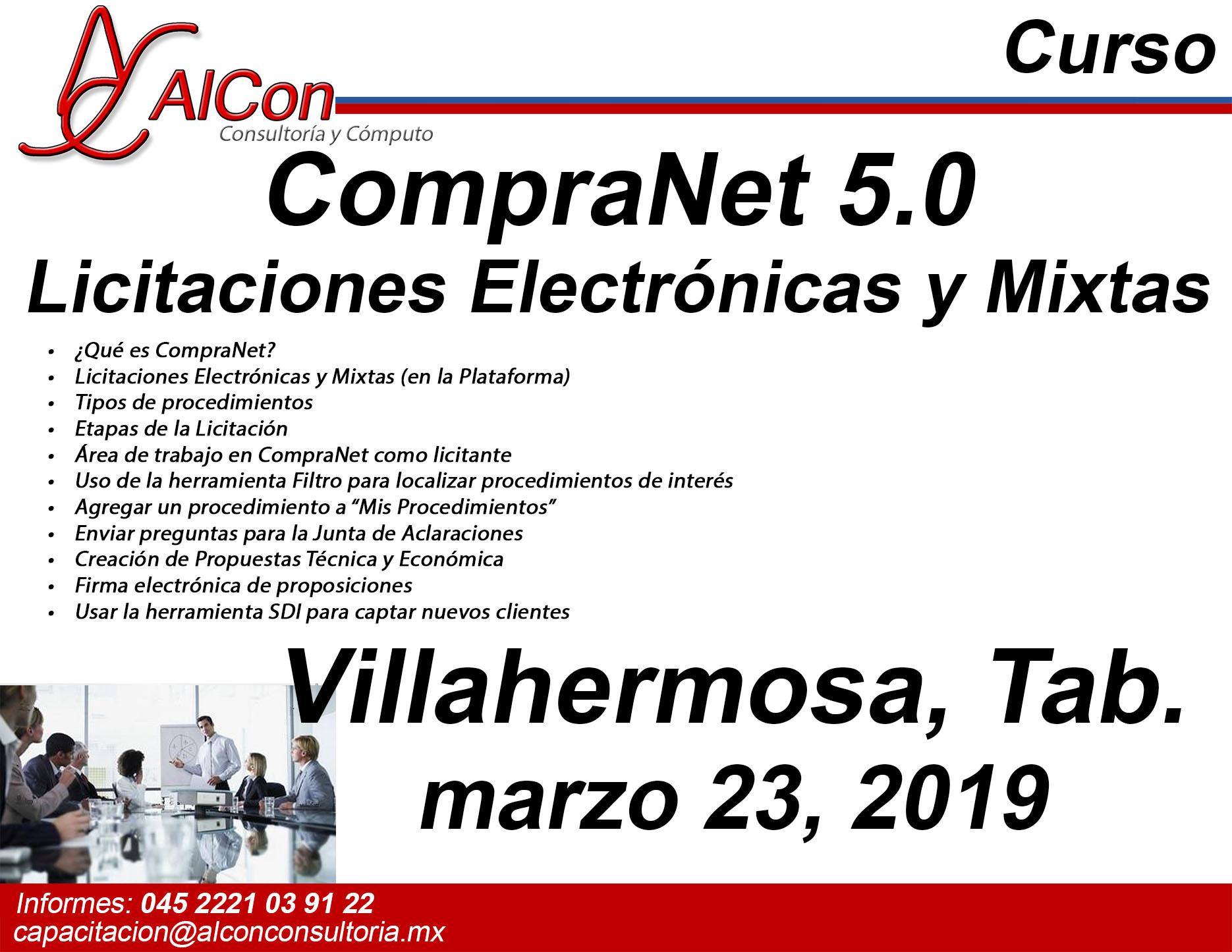 Curso CompraNet 5.0 Villahermosa, Tabasco