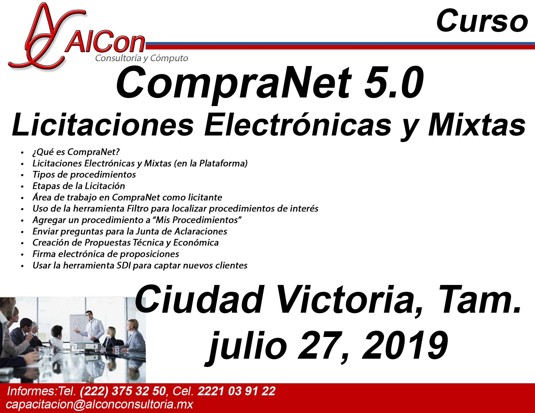 Curso de CompraNet 5.0, Ciudad Victoria, Tamaulipas, AlCon Consultoría y Cómputo, AlCon Consulting And Commerce, AlCon C&C