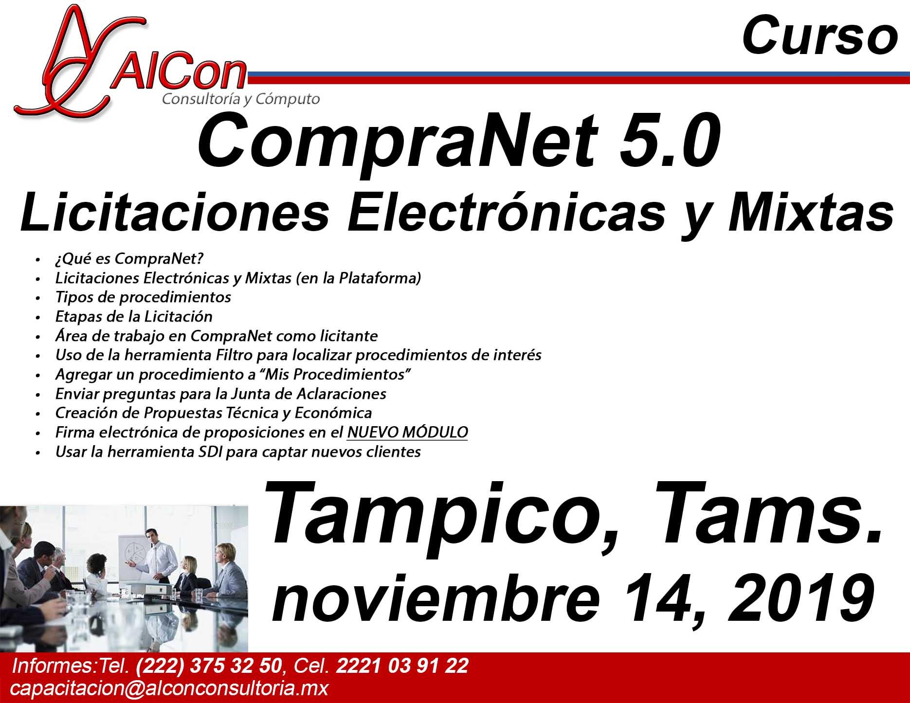 Curso de  CompraNet 5.0 Tampico. Tamaulipas, AlCon Consultoría y Cómpupto, AlCon Consulting And Commerce