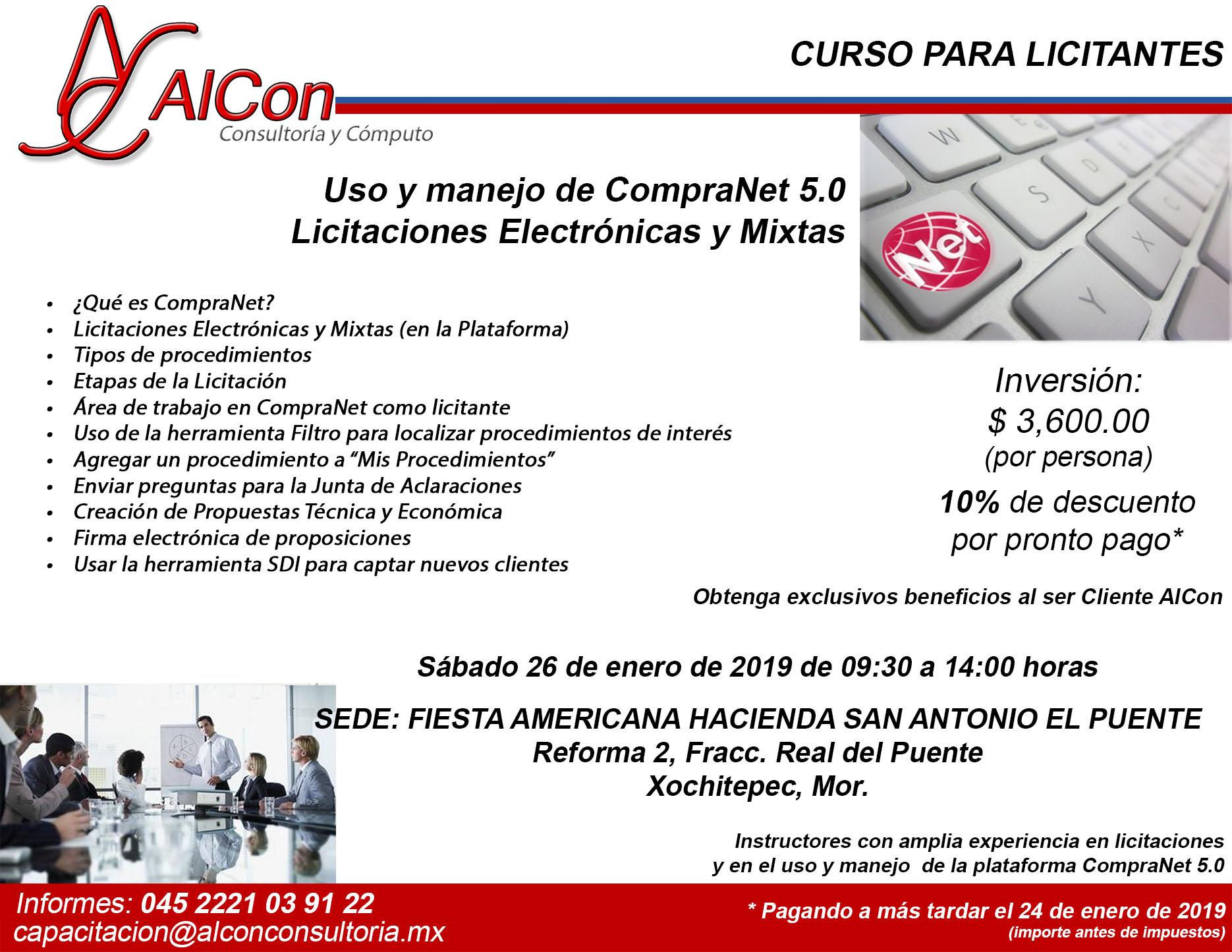 Curso CompraNet 5.0 Xochitepec, Morelos Arcadio Alonso Sánchez AlCon Cosultoría y Cómputo