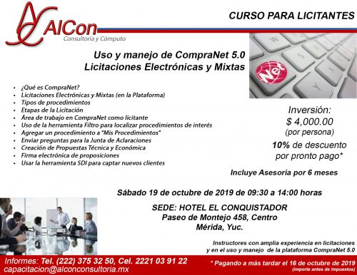 Curso de CompraNet 5.0, Mérida, Yucatán, AlCon Consultoría y Cómputo, AlCon Consulting And Commerce, Arcadio Alonso Sánchez