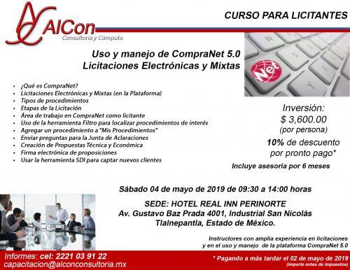 Curso CompraNet 5.0 Estado de México AlCon Consultoría y Cómputo Arcadio Alonso Sánchez