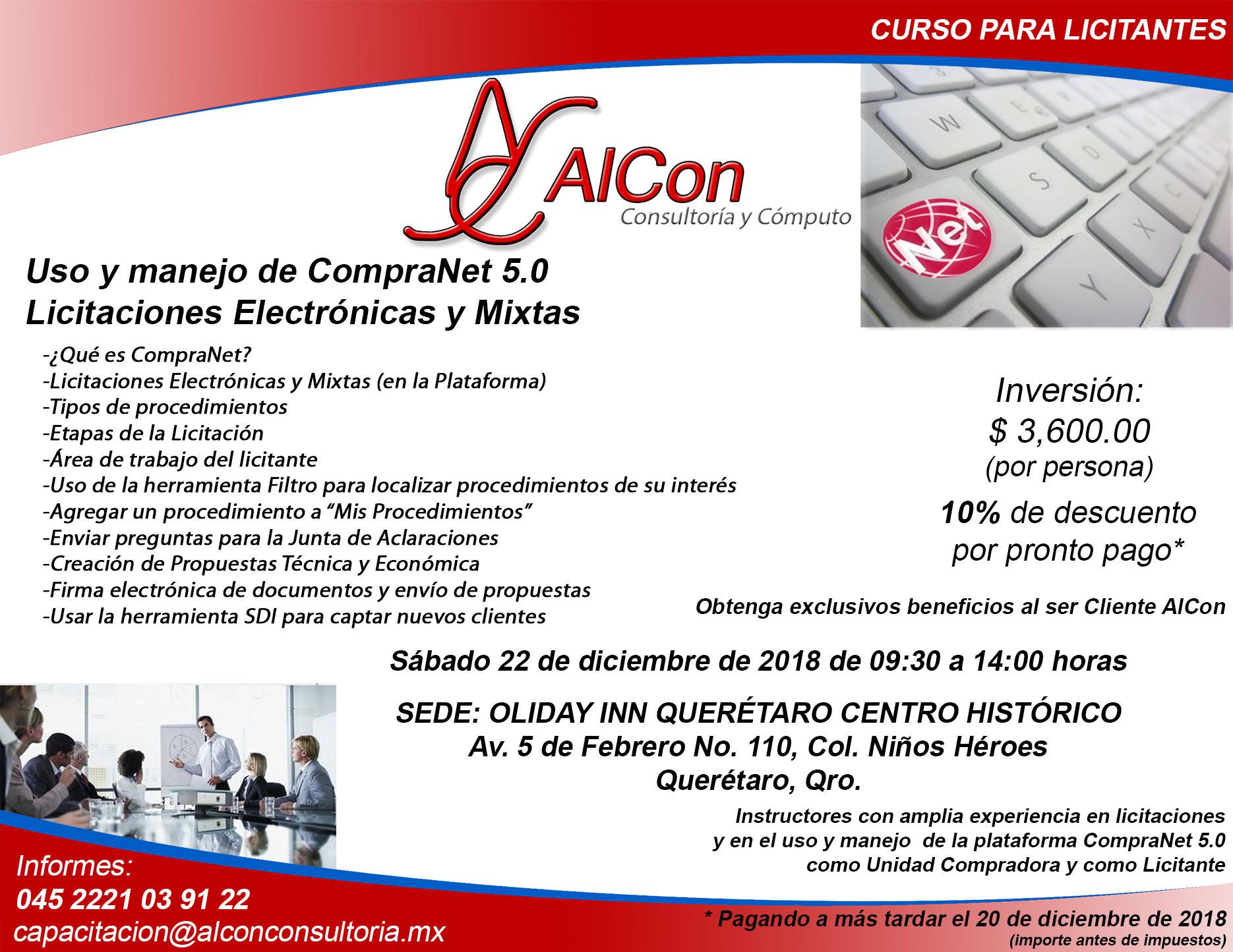 Curso CompraNet 5.0 para licititantes, Querétaro, Qro.