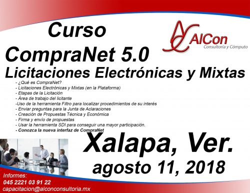 Curso CompraNet 5.0 Xalapa, Ver.