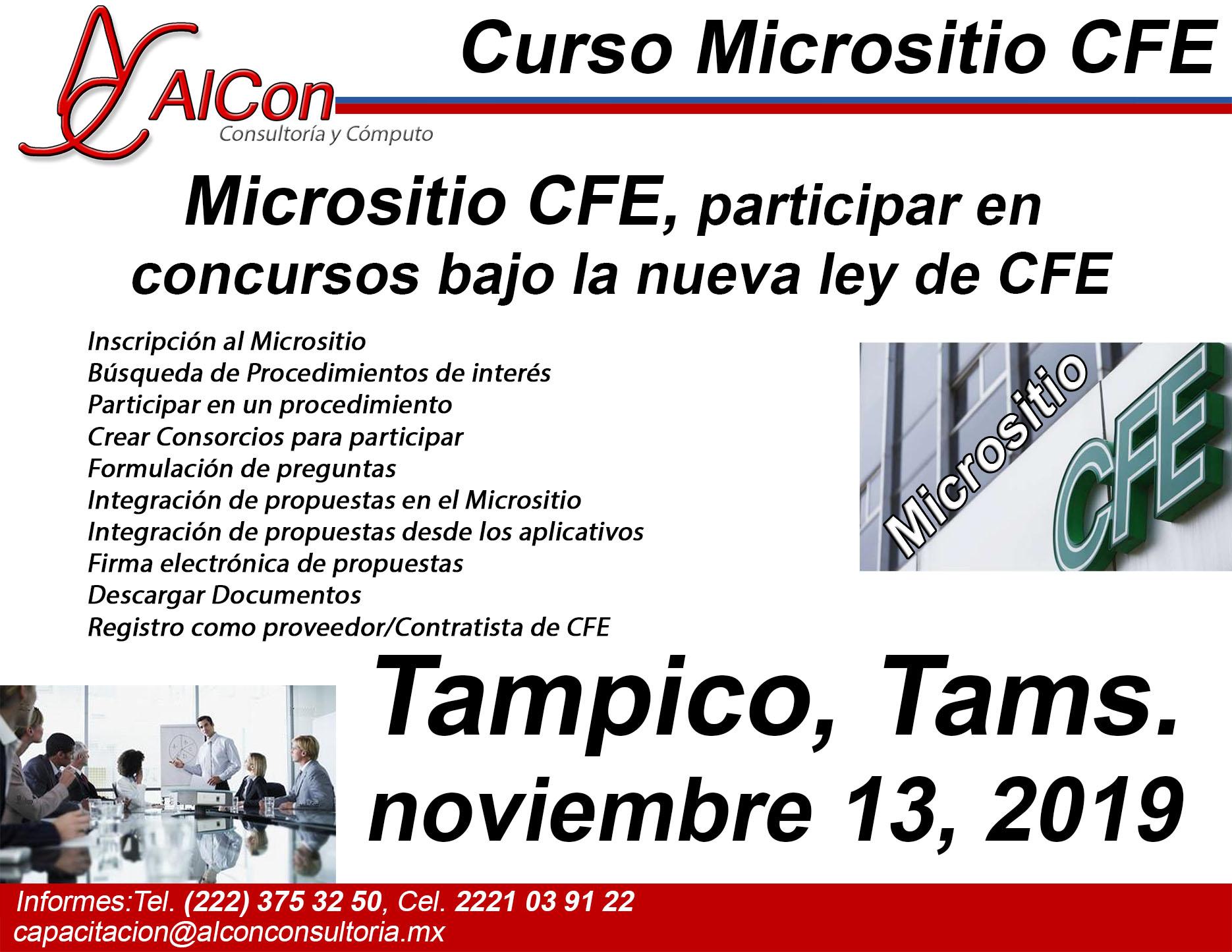 Curso de  Micrositio CFE Tampico. Tamaulipas, AlCon Consultoría y Cómpupto, AlCon Consulting And Commerce
