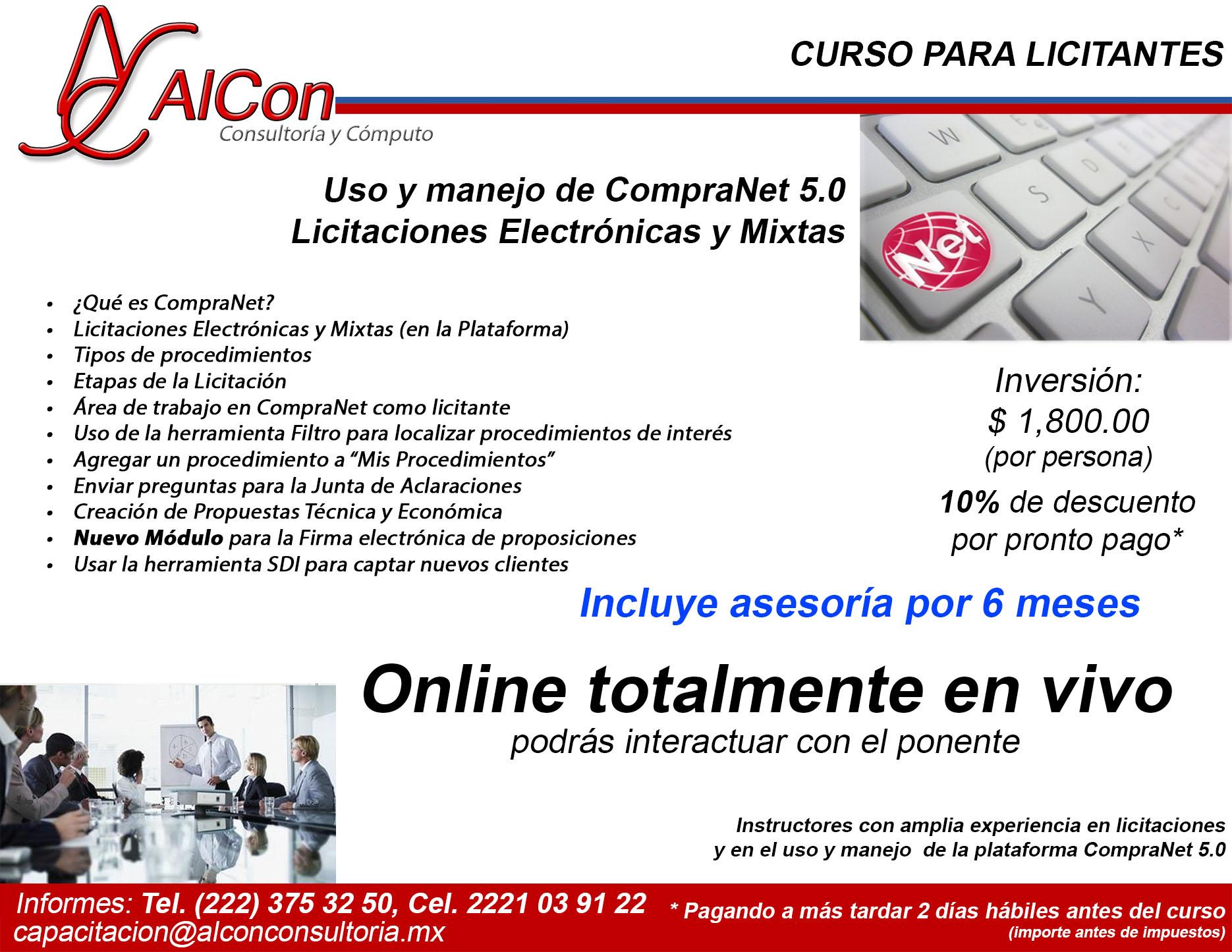 Curso online de CompraNet 5.0, AlCon Consultoría y Cómputo, AlCon Consulting And Commerce
