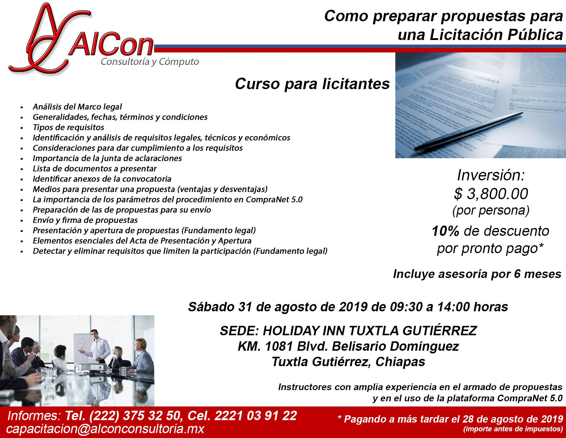 Curso Como preparar propuestas para una Licitación Pública, Tuxtla Gutiérrez, Chiapas, AlCon Consultoría y Cómputo