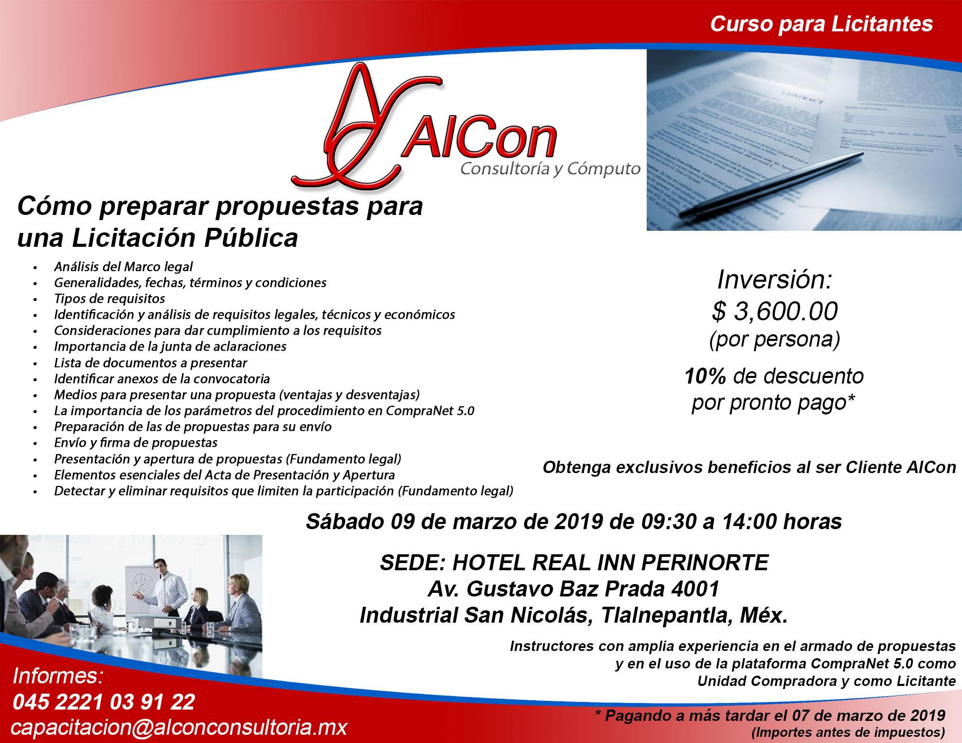 Curso Propuestas para una licitación Pública estado de México, Arcadio Alonso Sánchez