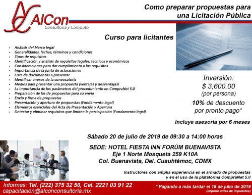 Curso Preparar Propuestas, Ciudad de México (CDMX), AlCon Consultoría y Cómputo, AlCon Consulting And Commerce, AlCon C&C