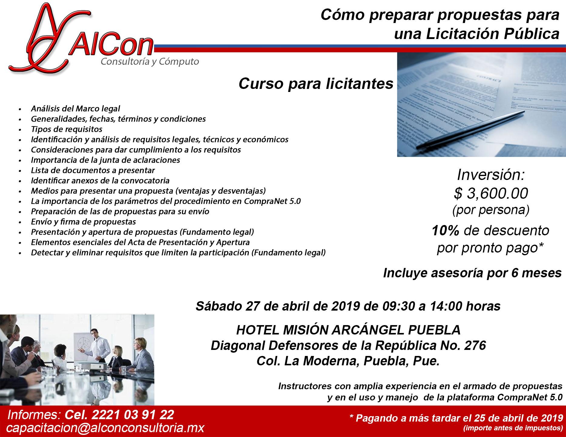 Preparar Propuestas para una licitación pública, AlCon Consultoría y Cómputo