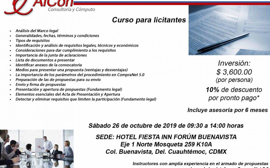 Curso Como Preparar Propuestas para una Licitación Pública, Ciudad de México